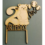2ND BIRTHDAY BEAR CAKE TOPPER - CT141