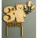 3RD BIRTHDAY BEAR CAKE TOPPER - CT142