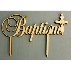 BAPTISM CAKE TOPPER WITH GREEK ORTHODOX CROSS - CT113