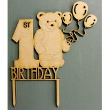1ST BIRTHDAY BEAR CAKE TOPPER - CT140