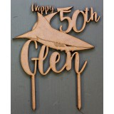 CUSTOM NAME & AGE CRONULLA SHARKS BIRTHDAY CAKE TOPPER - CT153