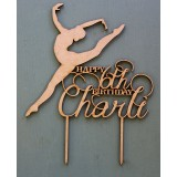 CUSTOM HAPPY AGE & NAME BALLERINA BIRTHDAY CAKE TOPPER - CT161