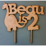 CUSTOM CUTE DINOSAUR NAME IS AGE CAKE TOPPER - CT160
