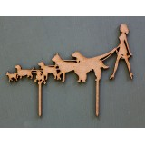 WOMAN WALKING DOGS CAKE TOPPER - CT264