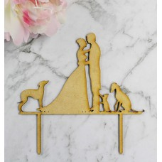 BRIDE & GROOM WITH DOGS & CAT CAKE TOPPER - CT100