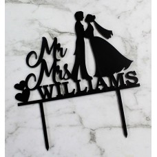 CUSTOM MR MRS BRIDE & GROOM CAKE TOPPER - CT099