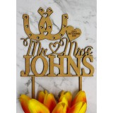 CUSTOM MR & MRS WITH DOUBLE HORSESHOES CAKE TOPPER - CT107