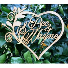 PERSONALISED NAME HEART WITH FLOURISH - M620