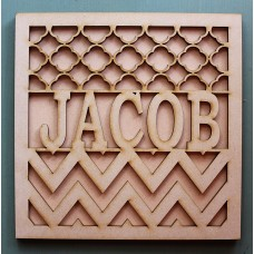 SQUARE CHEVRON NAME MONOGRAM FRAME- M371