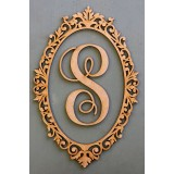 ORNATE OVAL WITH MONOGRAM LETTER - M354