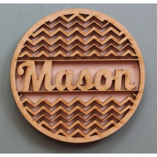 CIRCLE CHEVRON NAME MONOGRAM FRAME- M370
